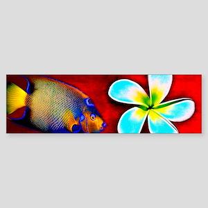 Tropical Fish Flower Red Backgrou Sticker (Bumper)
