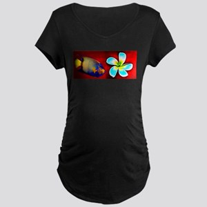 Tropical Fish Flower Red Backgro Maternity T-Shirt
