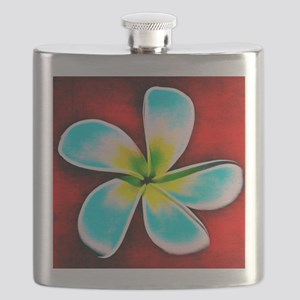 Tropical Fish Flower Red Background Flask