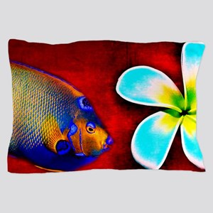 Tropical Fish Flower Red Background Pillow Case