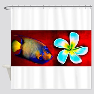 Tropical Fish Flower Red Background Shower Curtain