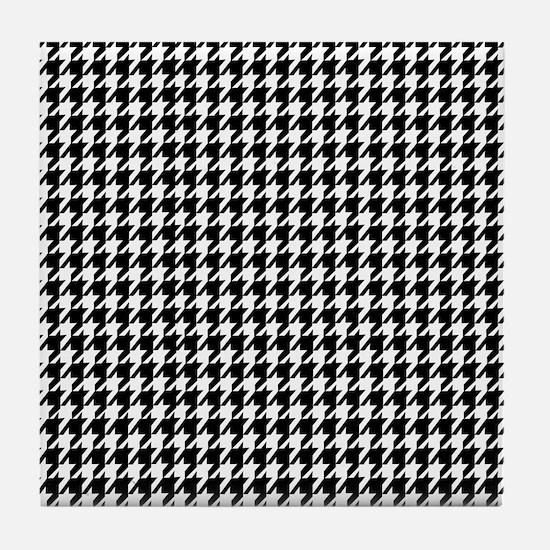 Black & White houndstooth background Tile Coaster