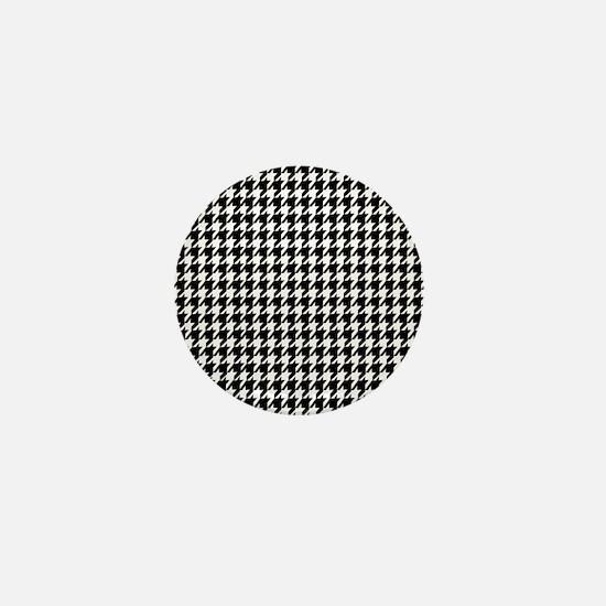Black & White houndstooth background Mini Button
