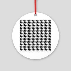 Black & White houndstooth backgroun Round Ornament