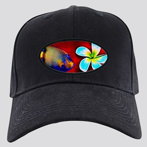 Tropical Fish Flower Red Background Black Cap