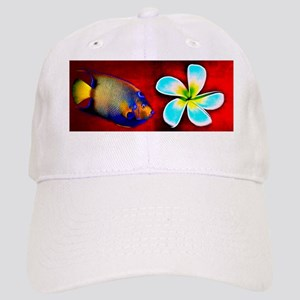 Tropical Fish Flower Red Background Cap