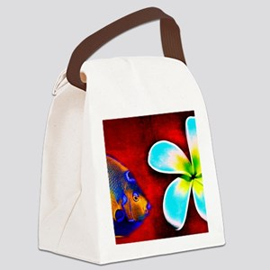 Tropical Fish Flower Red Backgrou Canvas Lunch Bag