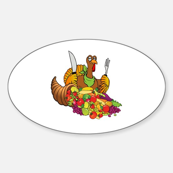 Cornucopia and Vegan Turkey Sticker (Oval)