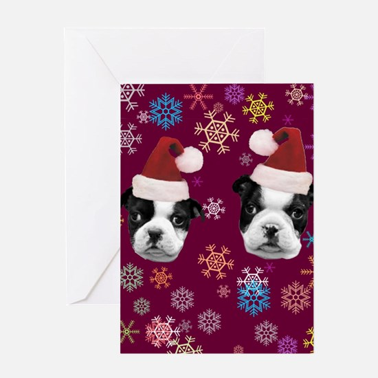 Christmas Boston Terrier Dog Greeting Card