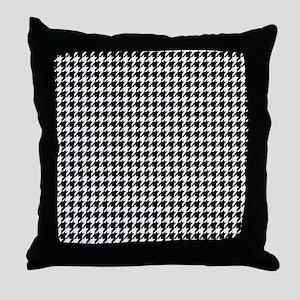 Black & White houndstooth background Throw Pillow