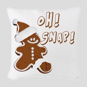 OH SNAP Gingerbread Man Woven Throw Pillow