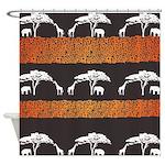 Elephant and Giraffe Sunset Shower Curtain