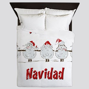 FUNNY Christmas Fleece Navidad Sheep Queen Duvet
