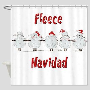FUNNY Christmas Fleece Navidad She Shower Curtain