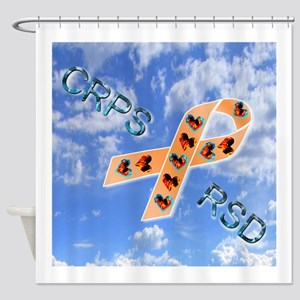 CRPS RSD Fire & Ice Hearts Ribbon b Shower Curtain