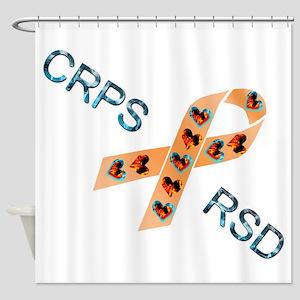 CRPS RSD Fire & Ice Hearts Ribbon Shower Curtain