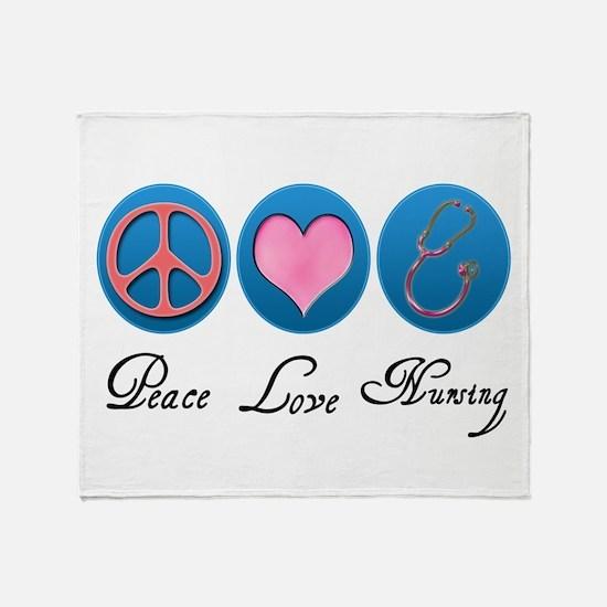 Peace, Love, Nursing Throw Blanket