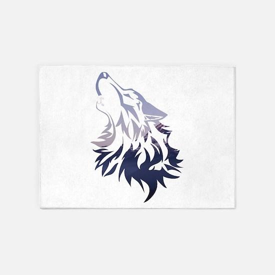 Wolf 5'x7'Area Rug