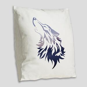 Wolf Burlap Throw Pillow