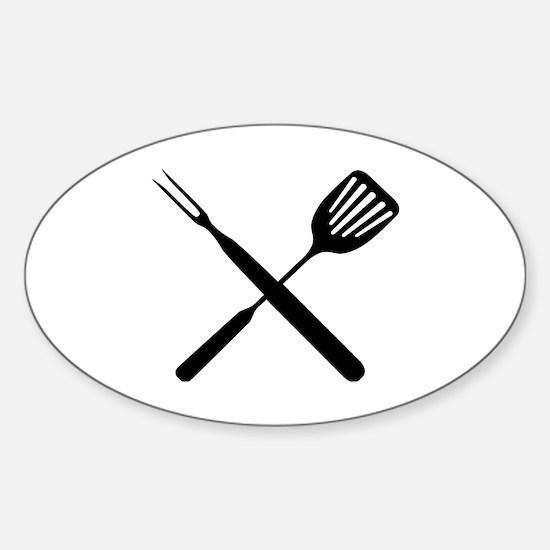 Cute Grilling utensils Sticker (Oval)