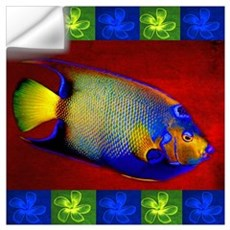 Fish Flowers Red Yellow Blue Wall Decal