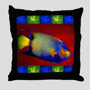 Fish Flowers Red Yellow Blue Throw Pillow
