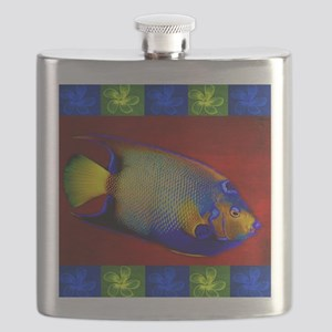 Fish Flowers Red Yellow Blue Flask