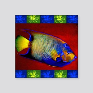 "Fish Flowers Red Yellow Blu Square Sticker 3"" x 3"""
