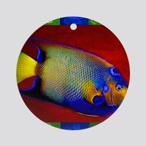 Fish Flowers Red Yellow Blue Round Ornament