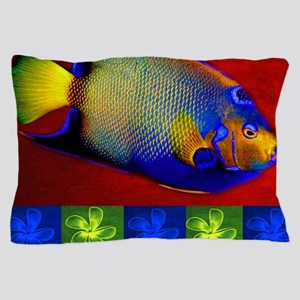 Fish Flowers Red Yellow Blue Pillow Case