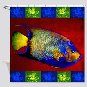 Fish Flowers Red Yellow Blue Shower Curtain