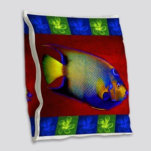 Fish Flowers Red Yellow Blue Burlap Throw Pillow