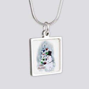 Bowling Ball Snowman Silver Square Necklace
