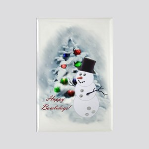Bowling Ball Snowman Rectangle Magnet