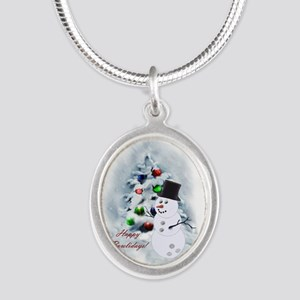 Bowling Ball Snowman Silver Oval Necklace
