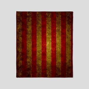 Red Gold Vertical Stripes Vintage Throw Blanket