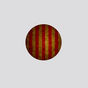 Red Gold Vertical Stripes Vintage Mini Button