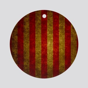 Red Gold Vertical Stripes Vintage Round Ornament