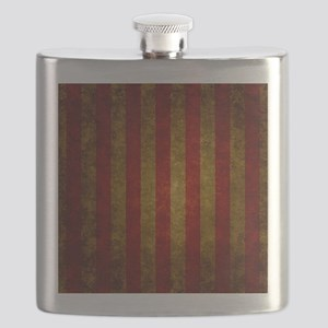 Red Gold Vertical Stripes Vintage Flask