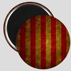 Red Gold Vertical Stripes Vintage Magnet