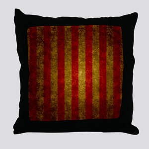 Red Gold Vertical Stripes Vintage Throw Pillow