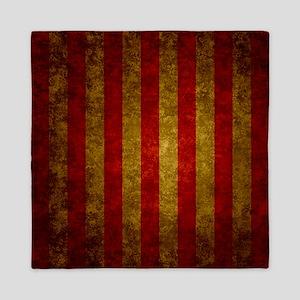 Red Gold Vertical Stripes Vintage Queen Duvet