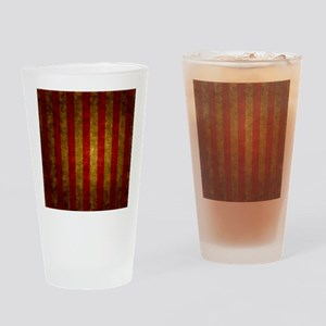 Red Gold Vertical Stripes Vintage Drinking Glass