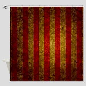 Red Gold Vertical Stripes Vintage Shower Curtain