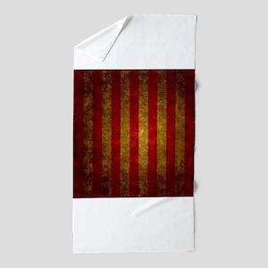 Red Gold Vertical Stripes Vintage Beach Towel