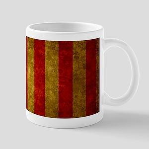 Red Gold Vertical Stripes Vintage Mugs