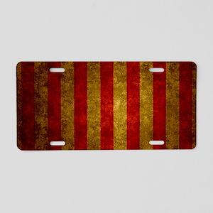 Red Gold Vertical Stripes V Aluminum License Plate