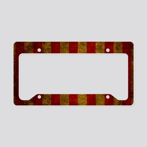 Red Gold Vertical Stripes Vin License Plate Holder
