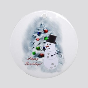 Bowling Ball Snowman Round Ornament