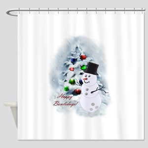 Bowling Ball Snowman Shower Curtain